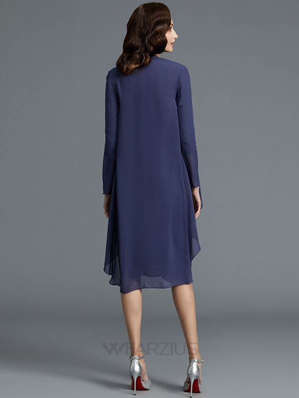 Sweetheart Sheath/Column Chiffon 1/2 Sleeves Knee-Length Mother of the Bride Dresses