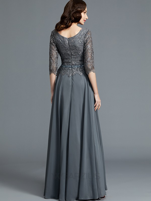A-Line Scoop 1/2 Sleeves Floor-Length Chiffon Mother of the Bride Dresses