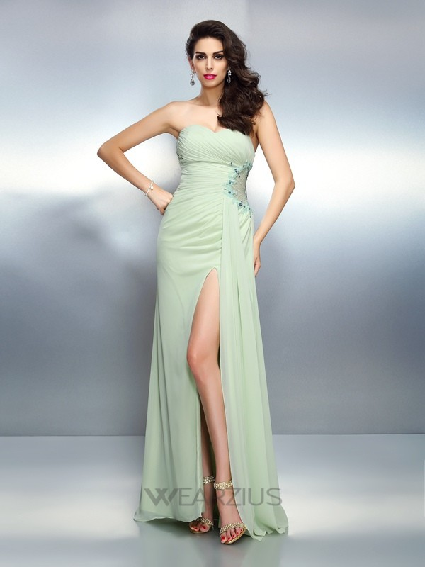 A-Line/Princess Sleeveless Sweetheart Pleats Chiffon Floor-Length Dresses