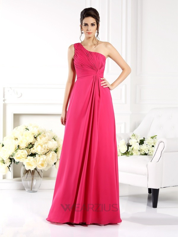 A-Line/Princess One-Shoulder Sleeveless Ruched Chiffon Floor-Length Dresses