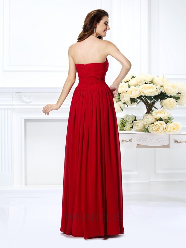 A-Line/Princess Strapless Chiffon Floor-Length Sleeveless Hand-Made Flower Dresses