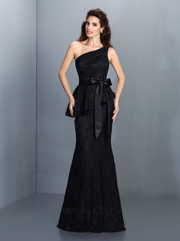 Trumpet/Mermaid Lace One-Shoulder Sleeveless Floor-Length Satin Dresses