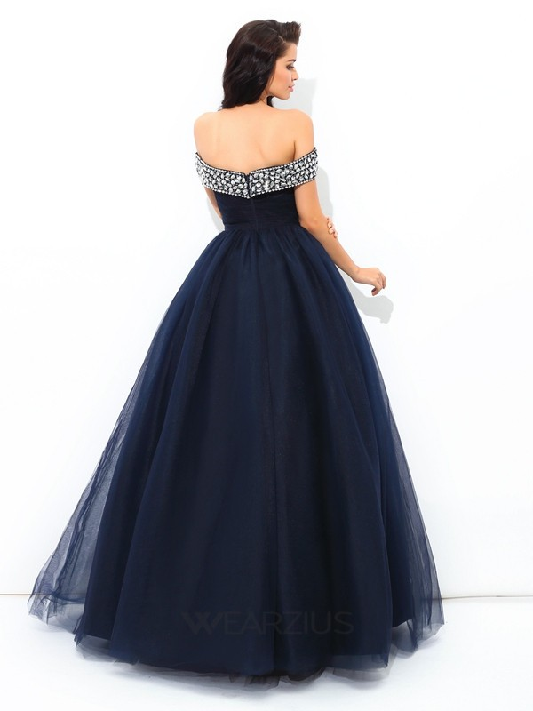 Ball Gown Off-the-Shoulder Sleeveless Beading Floor-Length Net Quinceanera Dresses