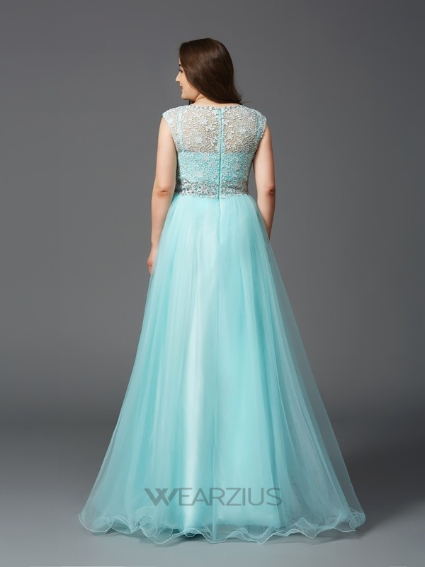 A-Line Scoop Sleeveless Rhinestone Floor-Length Elastic Woven Satin Plus Size Dresses