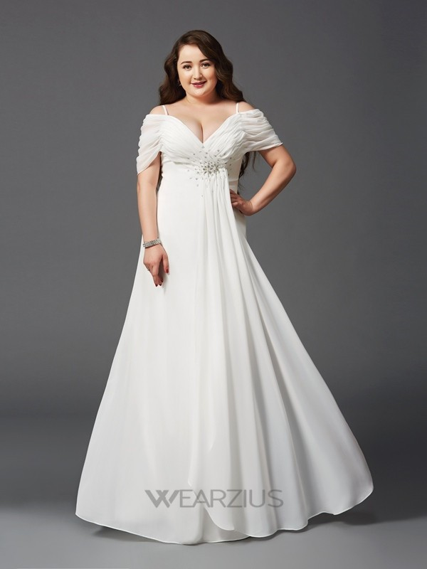 A-Line Off-the-Shoulder Ruched Short Sleeves Floor-Length Chiffon Plus Size Dresses