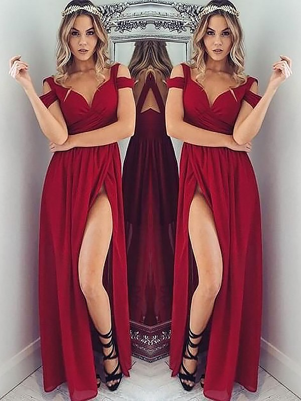 A-Line/Princess Off-the-Shoulder Chiffon Sleeveless Floor-Length Ruched Dresses