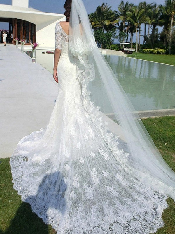 Trumpet/Mermaid Square Lace 1/2 Sleeves Cathedral Train Applique Wedding Dress