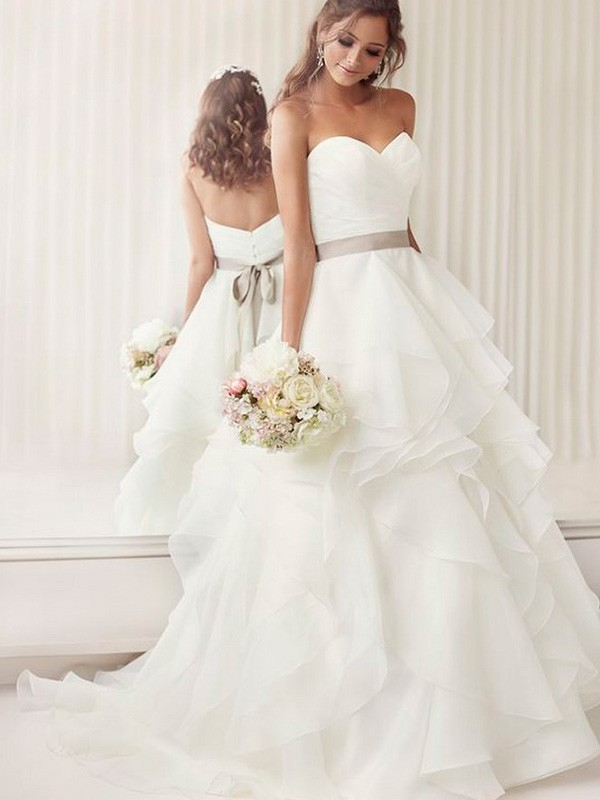 A-Line/Princess Sweetheart Sleeveless Chapel Train Organza Ruffles Sash/Ribbon/Belt Wedding Dress