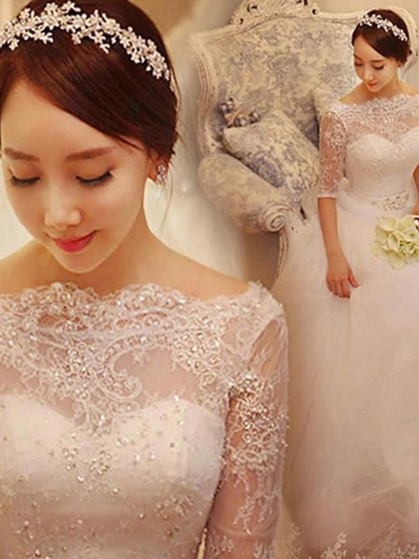 Ball Gown Off-the-Shoulder Tulle 1/2 Sleeves Beading Chapel Train Wedding Dress
