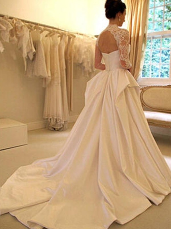 Ball Gown High Neck Long Sleeves Satin Chapel Train Lace Wedding Dress