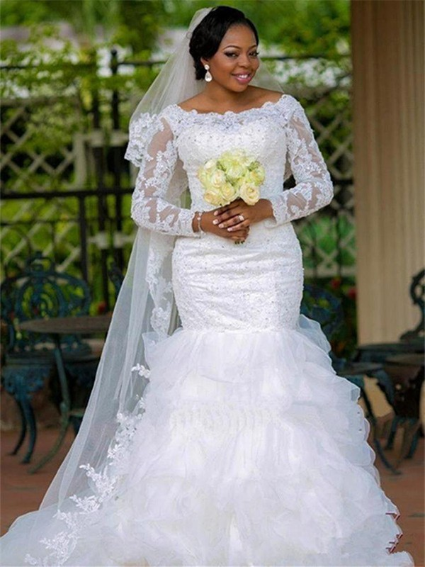 Trumpet/Mermaid Square Applique Long Sleeves Chapel Train Organza Wedding Dress