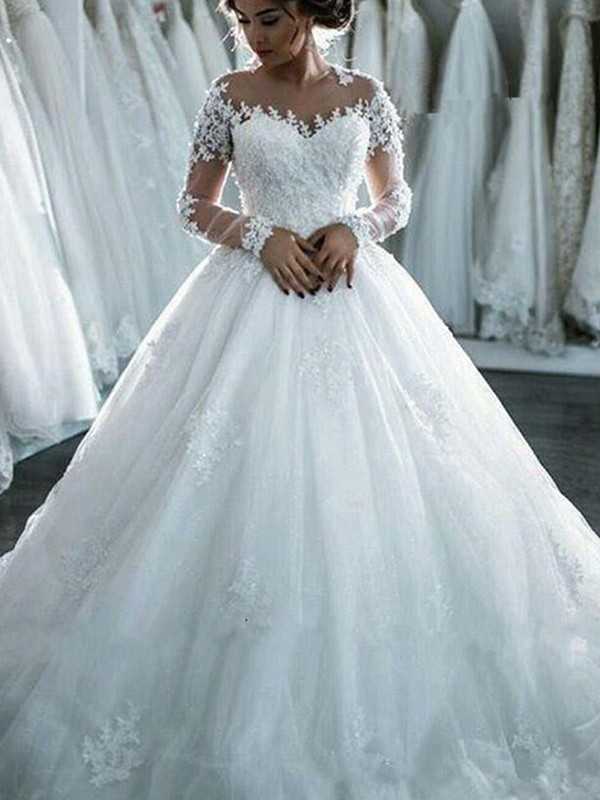 Ball Gown Scoop Long Sleeves Tulle Court Train Applique Wedding Dresses