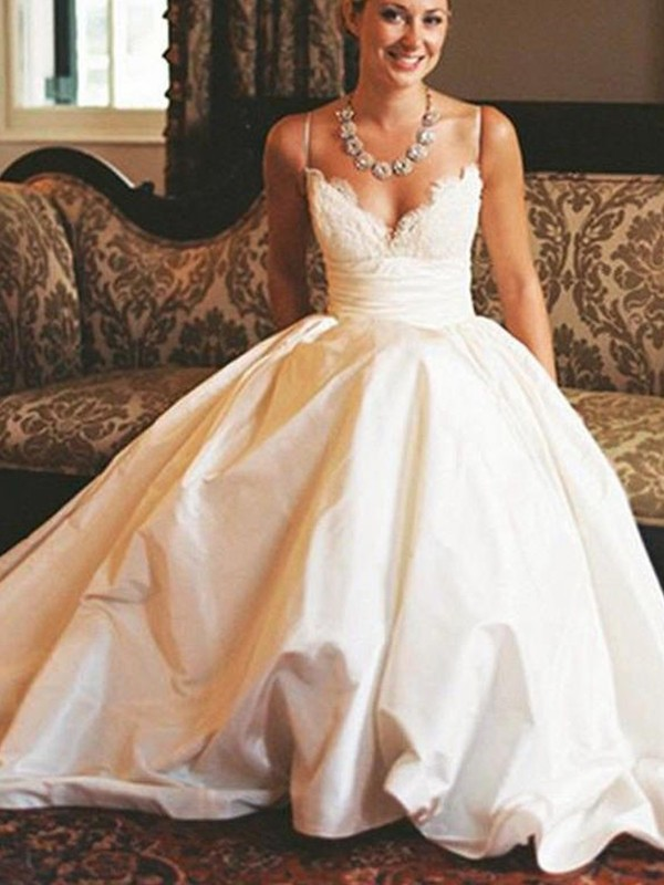 A-Line/Princess V-neck Satin Sleeveless Sweep/Brush Train Ruched Wedding Dress