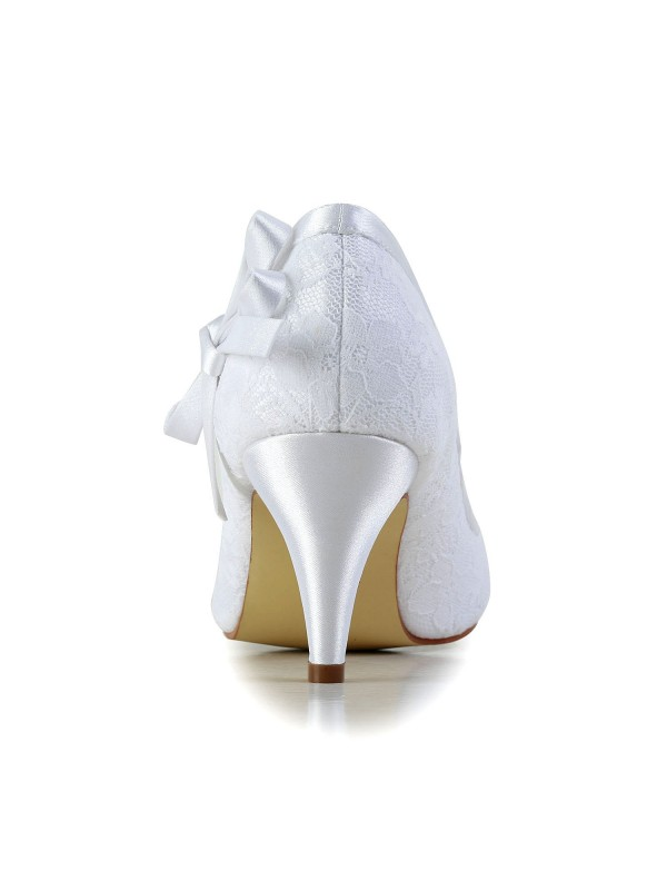 Women's Amazing Satin Closed Toe Cone Heel Wedding Shoes With Bowknot