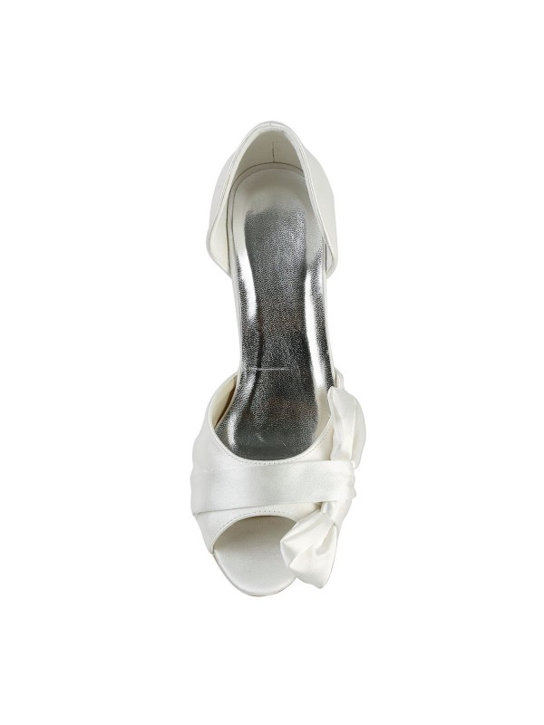 Women's Satin Stiletto Heel Peep Toe With Bowknot Wedding Shoes