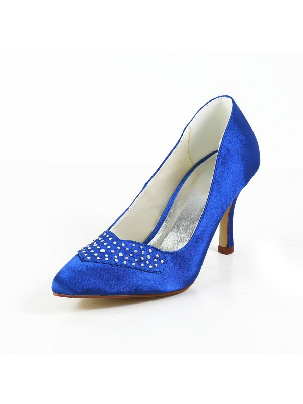 Women's Charming Satin Stiletto Heel Closed Toe Shoes With Rhinestone