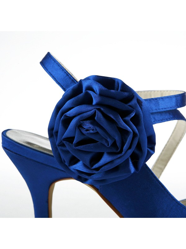 Women's Gorgeous Satin Stiletto Heel Peep Toe With Flower Wedding Shoes
