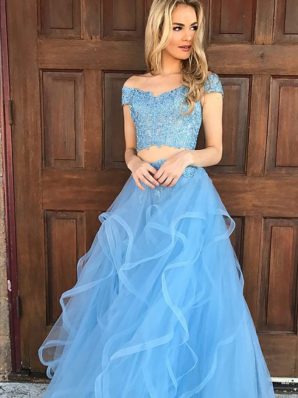 A-Line Sleeveless Off-the-Shoulder Floor-Length Tulle Applique Two Piece Dresses