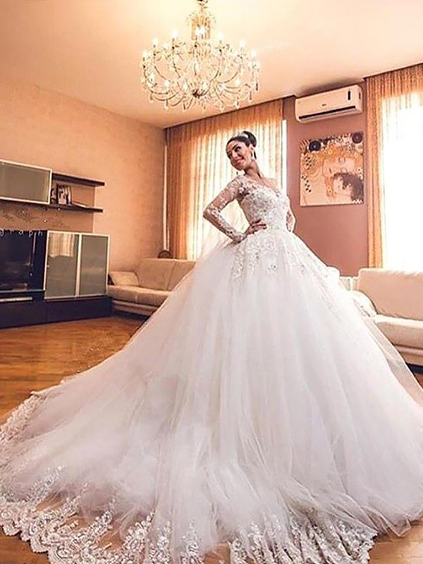 Ball Gown V-neck Long Sleeves Tulle Court Train Wedding Dress