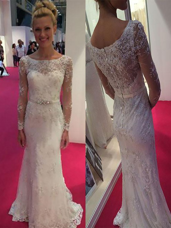 Sheath/Column Scoop Long Sleeves Lace Chiffon Sweep/Brush Train Wedding Dress