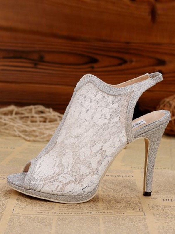 Women's Lace Stiletto Heel Slingbacks Peep Toe Sandal Shoes