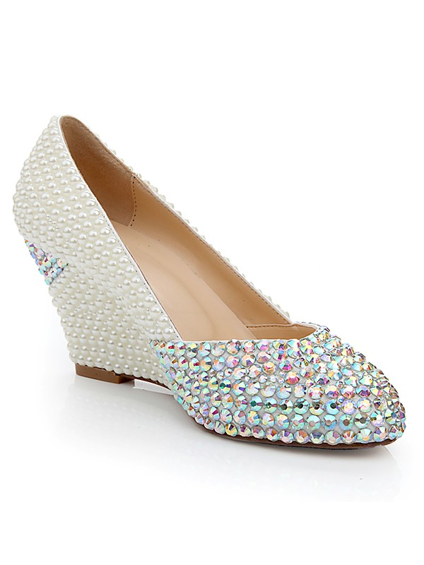 Women's Patent Leather Wedge Heel With Rhinestone Pearl Wedding Shoes