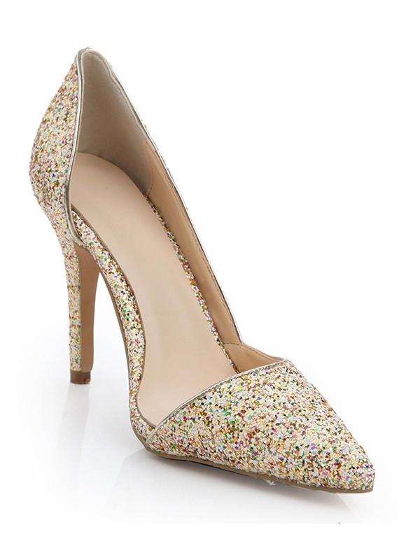 Women's Patent Leather Closed Toe Stiletto Heel With Sequin Evening Shoes