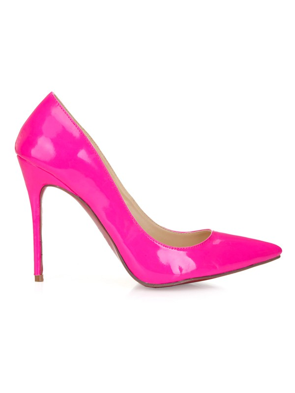 Women's Patent Leather Fuchsia Closed Toe Stiletto Heel Prom Shoes