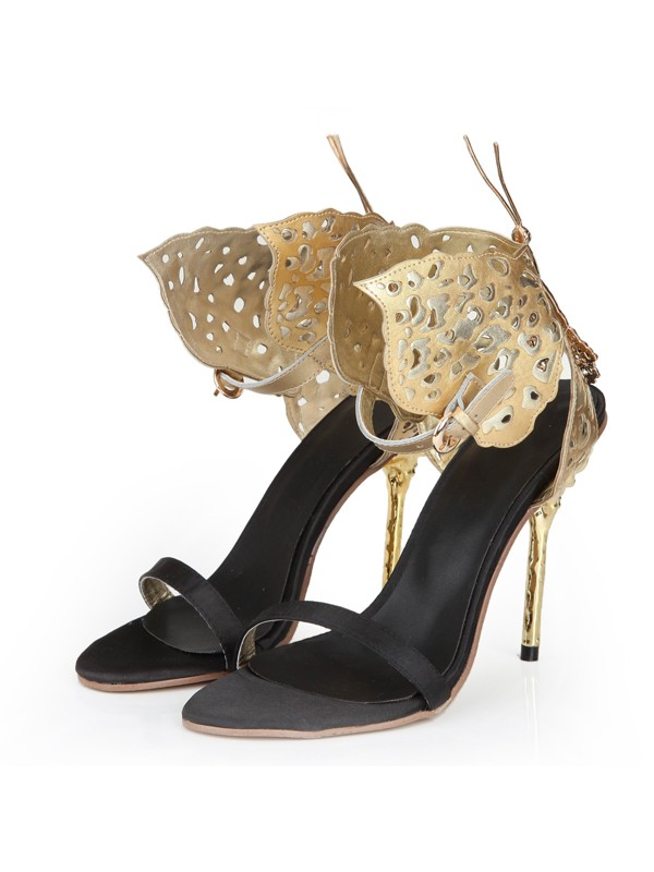 Women's Sheepskin Stiletto Heel Peep Toe With Gold Butterfly Sandal Shoes