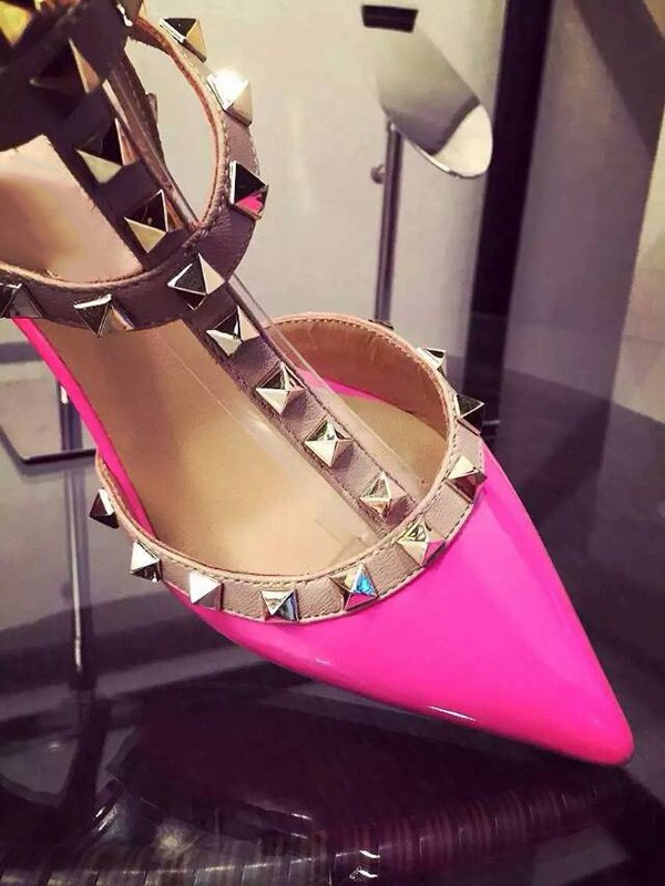 Women's Stiletto Heel Patent Leather Closed Toe With Rivet Party Sandal Shoes