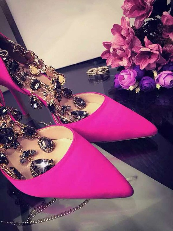Women's Satin Stiletto Heel Closed Toe With Rhinestone Chain Party Shoes