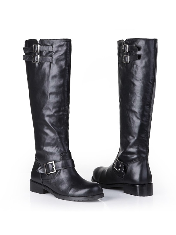 Women's Cattlehide Leather Closed Toe Kitten Heel With Buckle Mid-Calf Boots