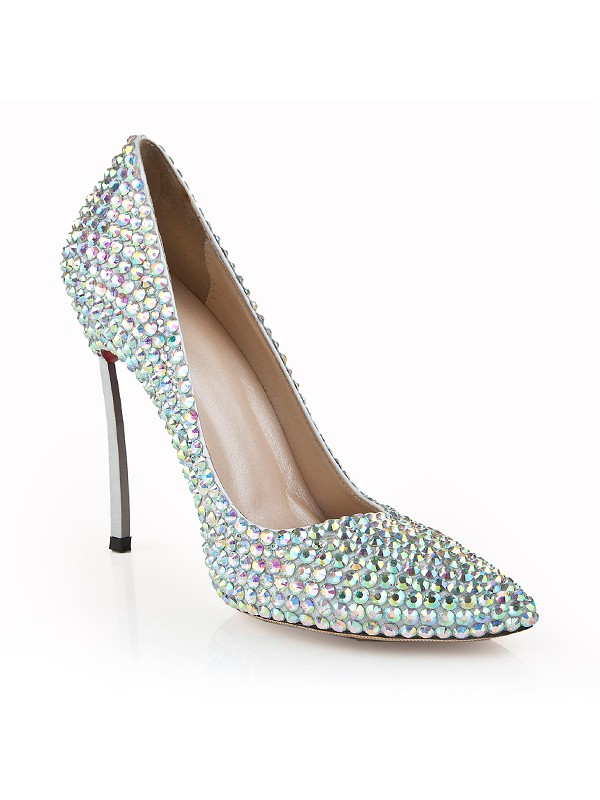 Women's Stiletto Heel Closed Toe Patent Leather With Rhinestone Evening Shoes