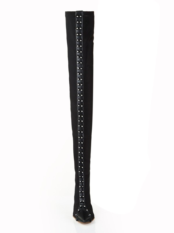 Women's Elastic Leather Stiletto Heel With Rhinestone Over The Knee Boots