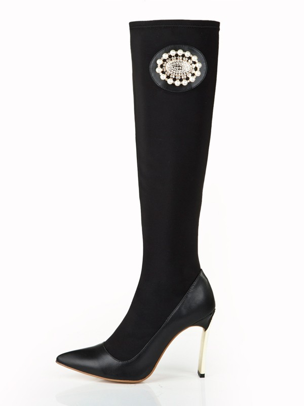 Women's Elastic Leather Stiletto Heel With Pearl Knee High Boots