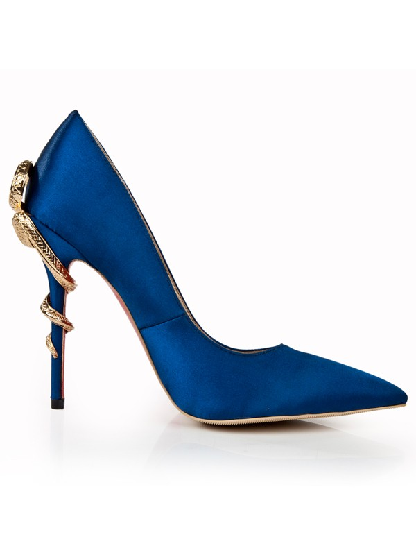 Women's Royal Blue Stiletto Heel Closed Toe With Rhinestone Dress Shoes