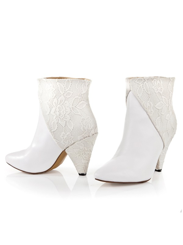 Women's Cattlehide Leather Net Cone Heel With Lace Ankle Boots