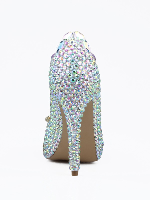 Women's Patent Leather Closed Toe Stiletto Heel With Rhinestones Shoes