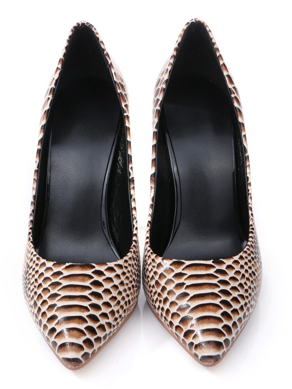 Women's Closed Toe PU Stiletto Heel With Snake Print Shoes