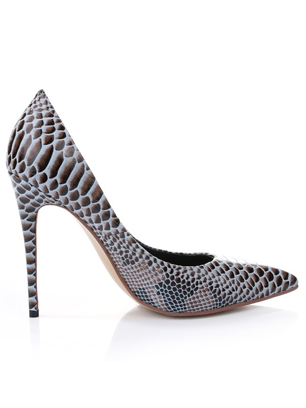Women's PU Closed Toe With Snake Print Stiletto Heel Shoes