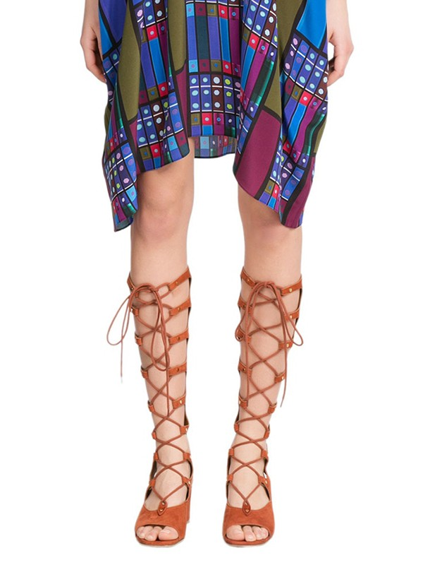 Women's Wedge Heel Peep Toe Suede With Lace-up Sandal Knee High Boots