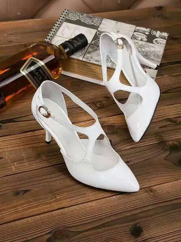 Women's Cone Heel Patent Leather Closed Toe With Buckle Sandal Office Shoes