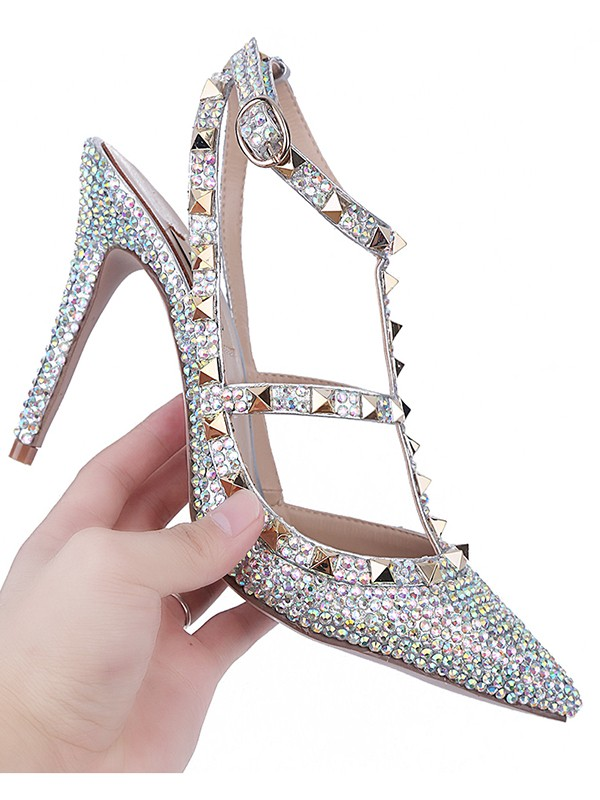 Women's Stiletto Heel Patent Leather Closed Toe With Rhinestone Sandal Shoes