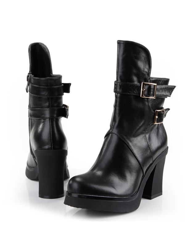 Women's Cattlehide Leather Chunky Heel Closed Toe With Zipper Mid-Calf Boots