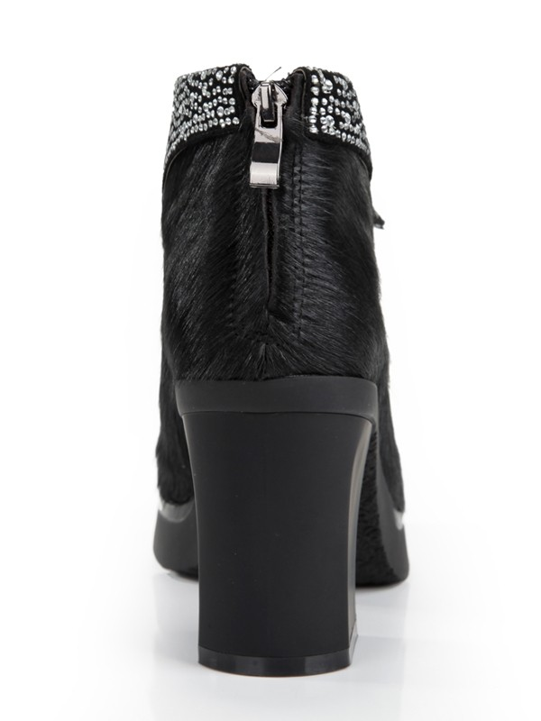 Women's Horsehair Chunky Heel Platform Closed Toe With Rhinestone Ankle Boots