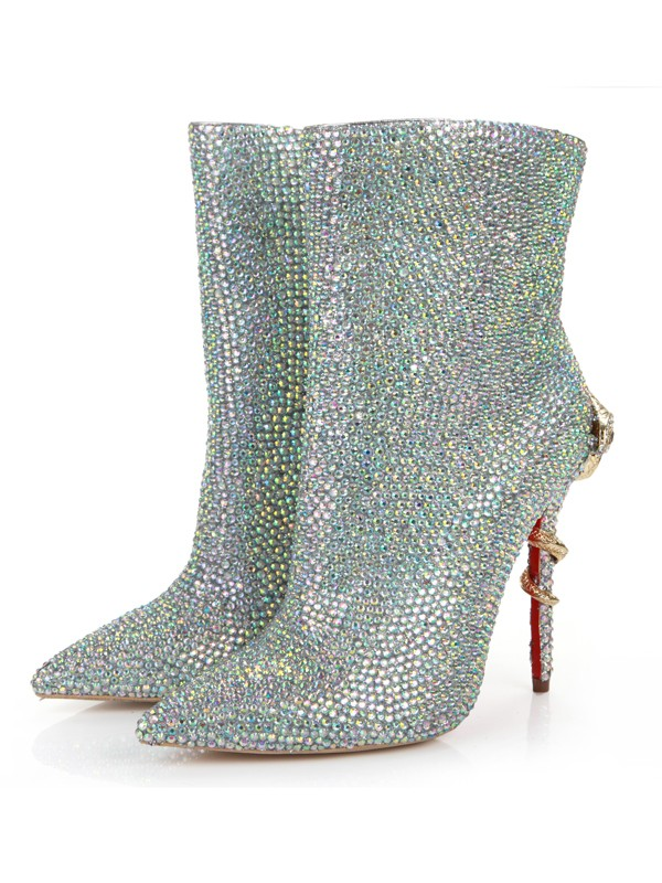 Women's Stiletto Heel Closed Toe Sheepskin With Rhinestone Mid-Calf Boots