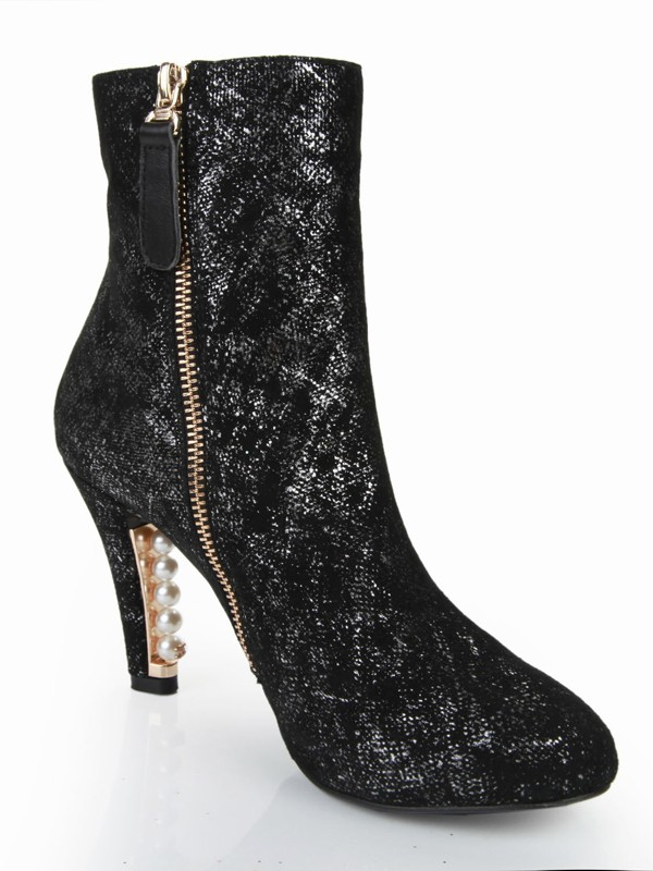 Women's Cone Heel Closed Toe Sheepskin With Pearl Mid-Calf Boots