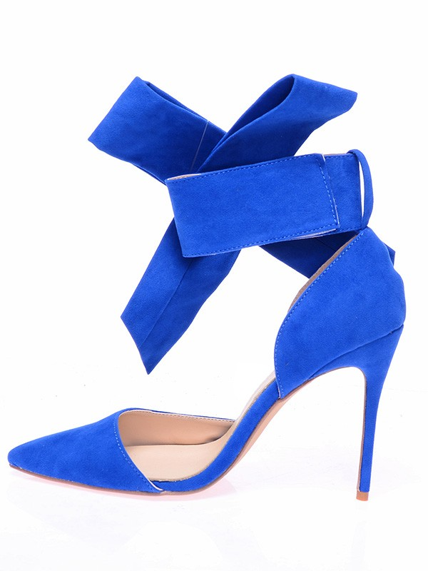 Women's Suede Closed Toe Stiletto Heel With Knot Shoes
