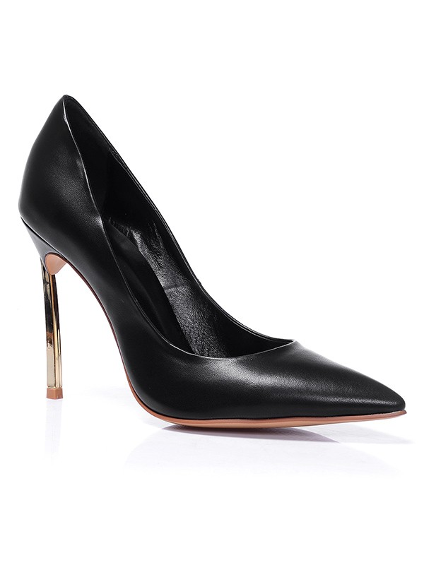 Women's Black Closed Toe Sheepskin Stiletto Heel Office Shoes