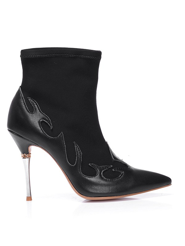 Women's Stiletto Heel Sheepskin Closed Toe Ankle Boots